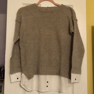 Sweater with with button up attached